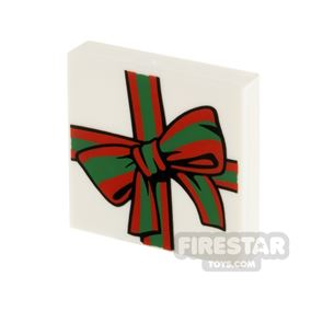 Printed Tile 2x2 Present with Large Bow