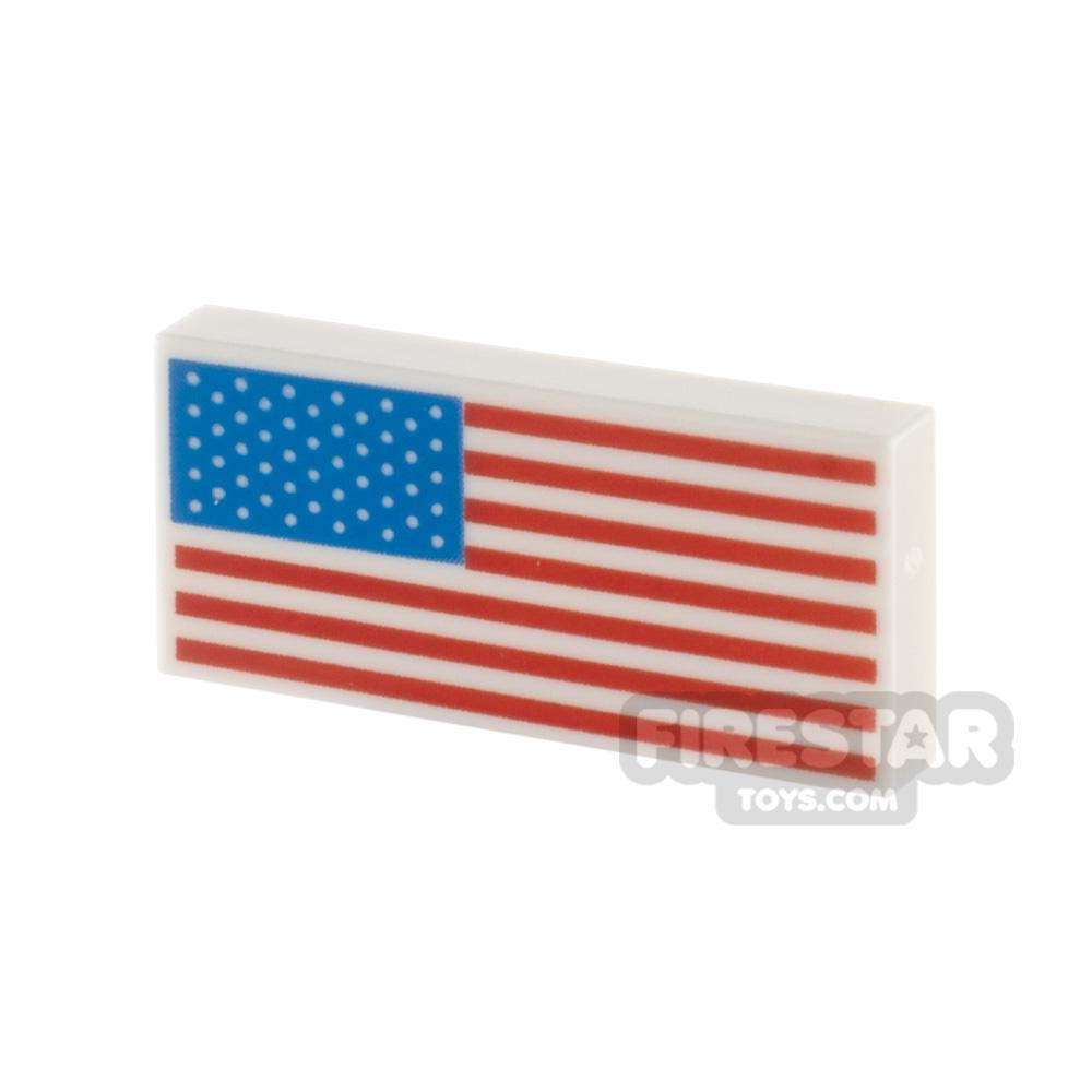 Printed Tile 1x2 American Flag