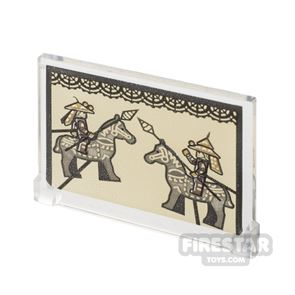 Printed Window Glass 1x4x3 Chinese Warriors and Horses