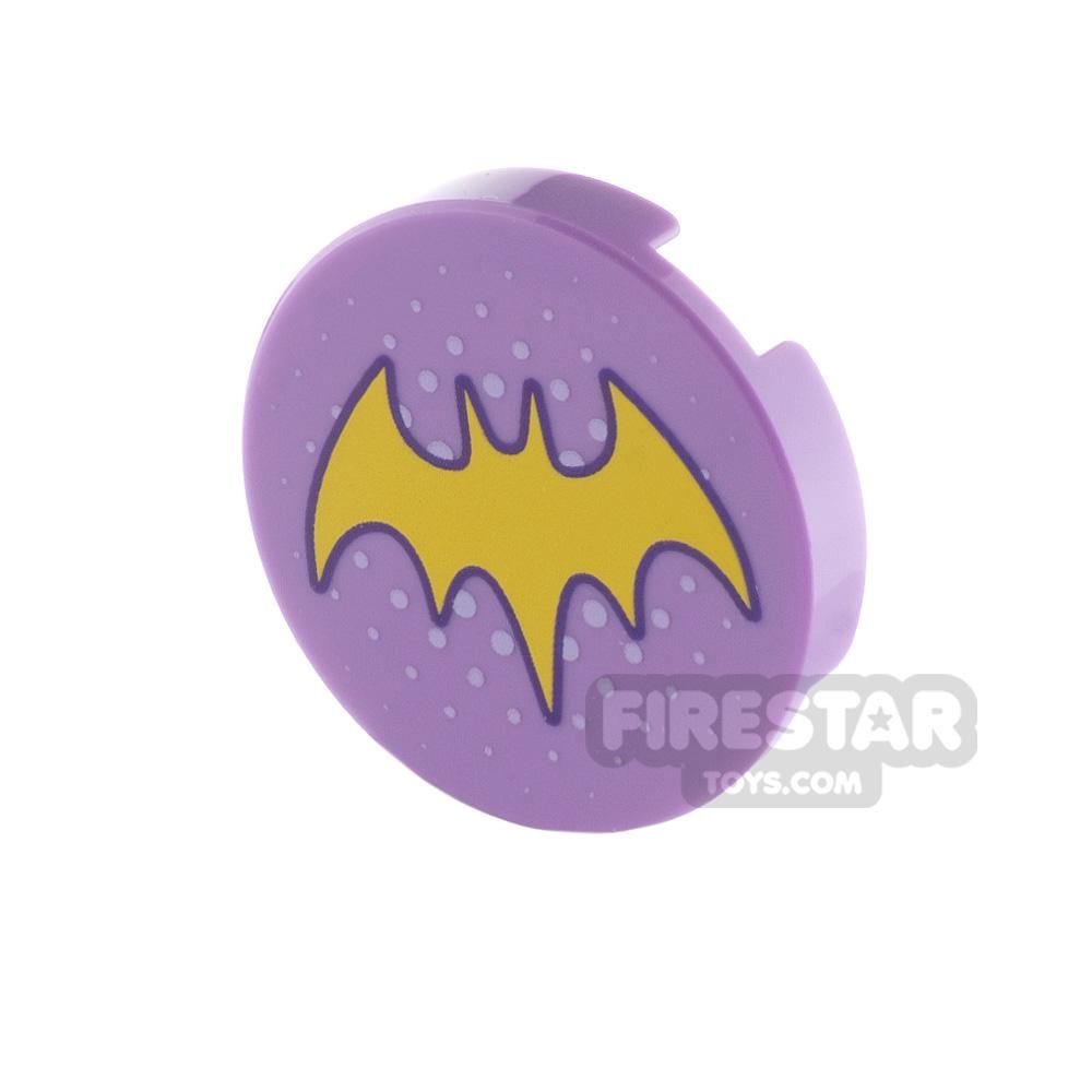 Printed Round Tile 2x2 Batgirl Logo