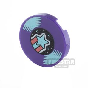 Printed Round Tile 2x2 Vinyl Record with Shooting Star