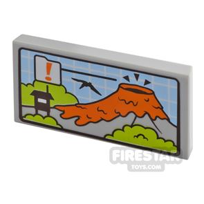 Printed Tile 2x4 Volcano and Flying Dinosaur