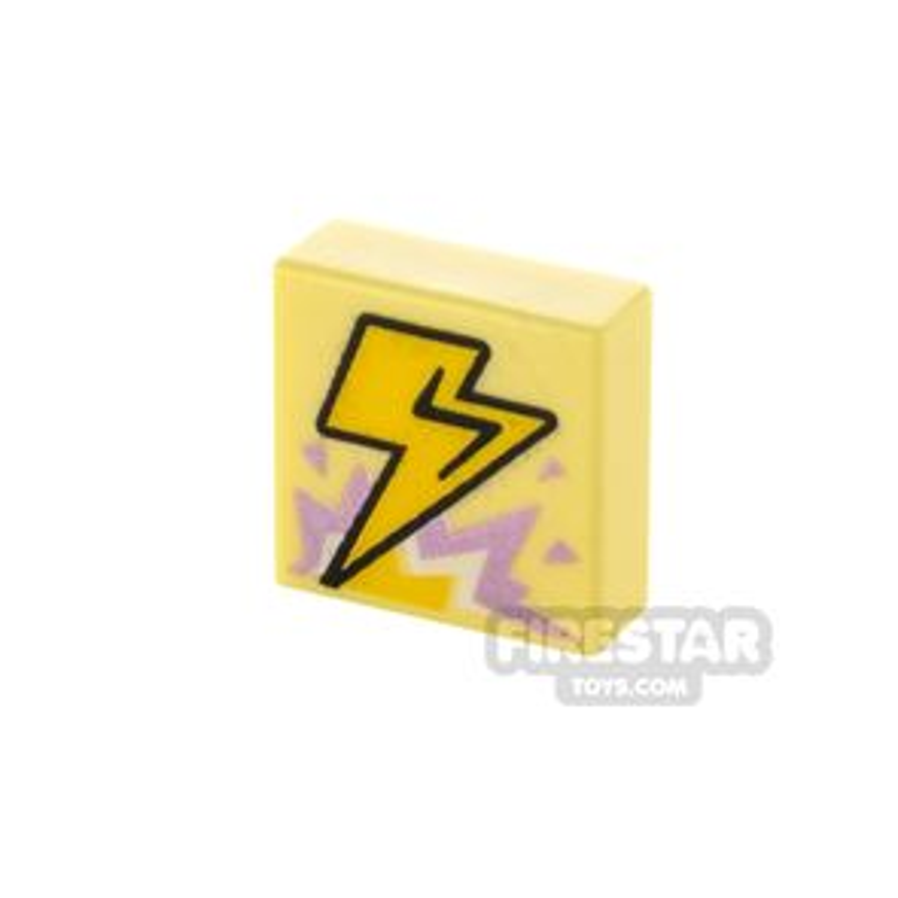 Printed Tile 1x1 Lightning Bolt and Explosion