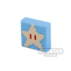 Printed Tile 1x1 Pixelated Super Star
