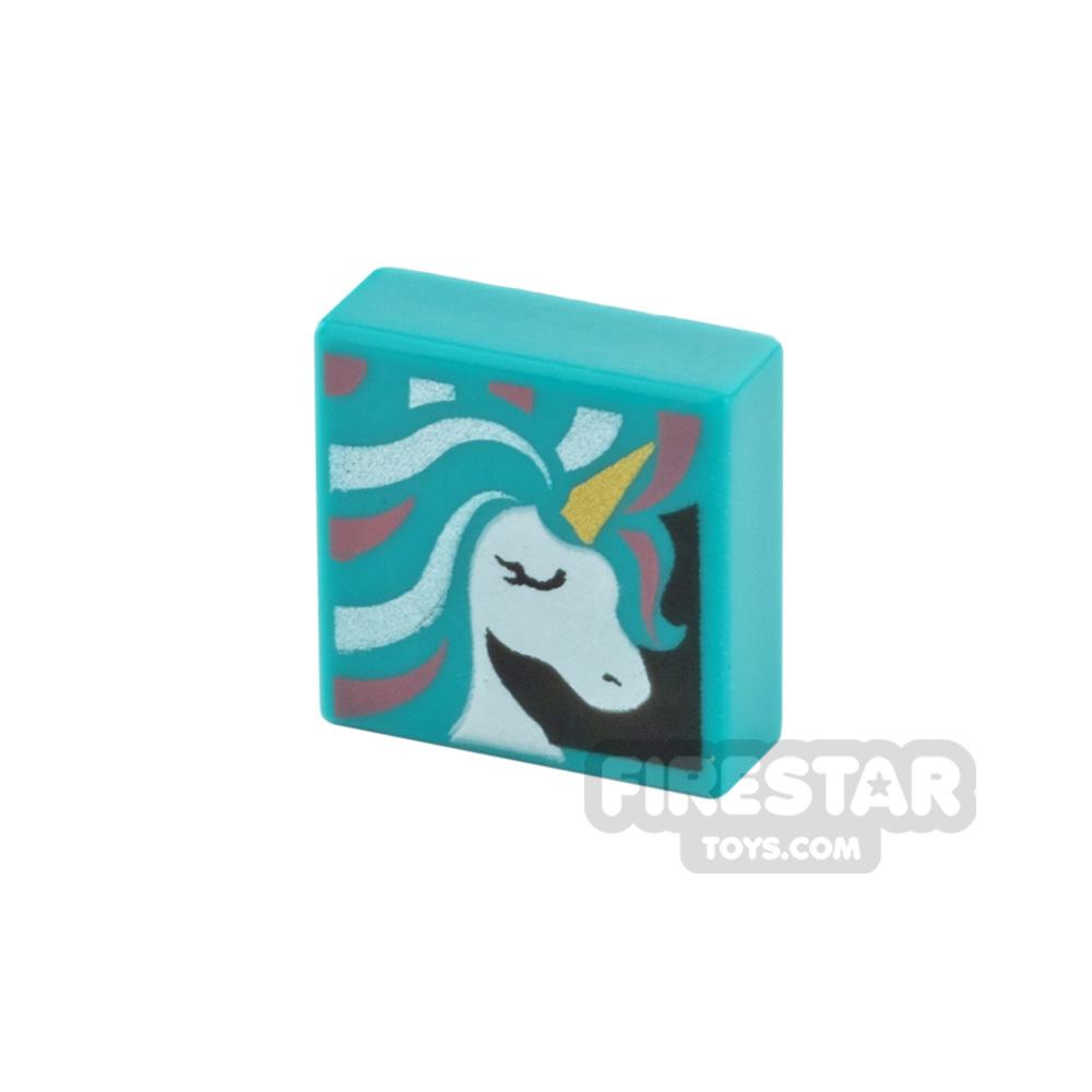Printed Tile 1x1 Unicorn Head