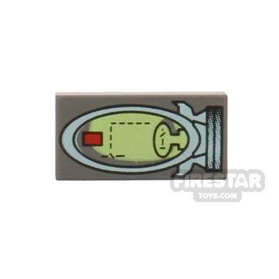 Printed Tile 1x2 - Spaceship Controls