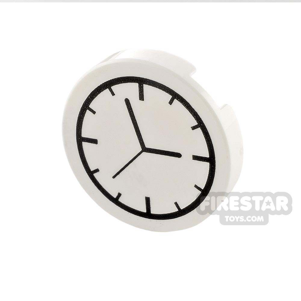 Printed Round Tile 2x2 - Clock