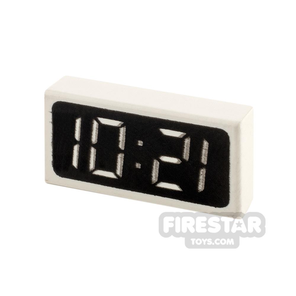 Printed Tile 1x2 Digital Clock