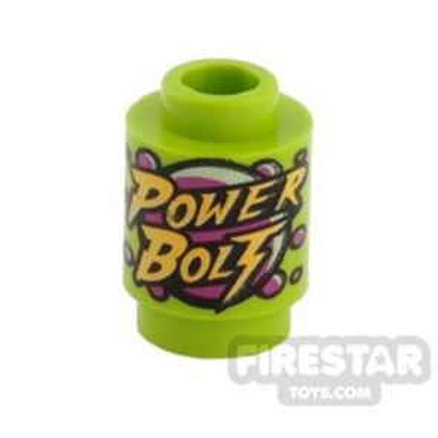 Printed Round Brick 1x1 - Power Bolt
