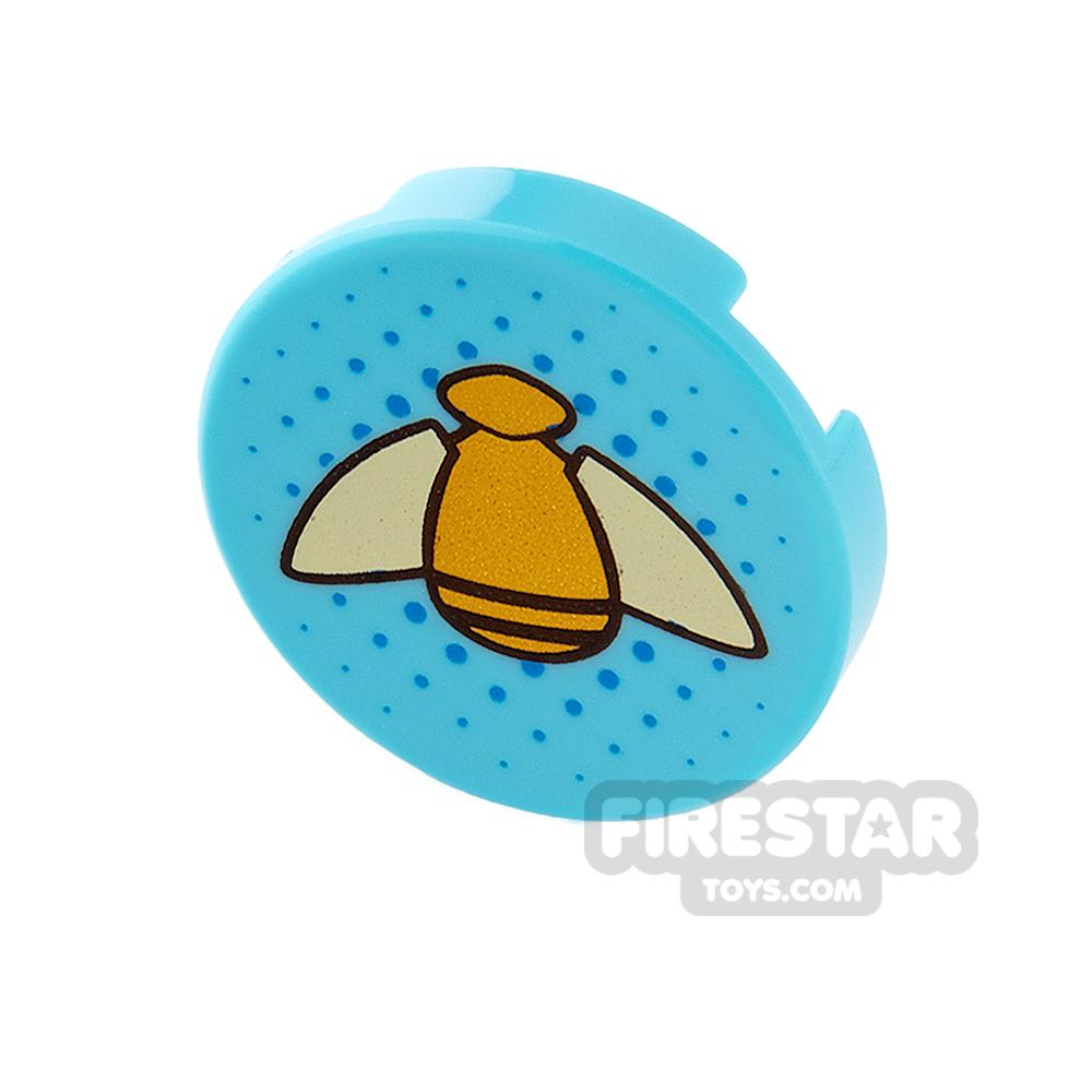 Printed Round Tile 2x2 - Gold Bumblebee