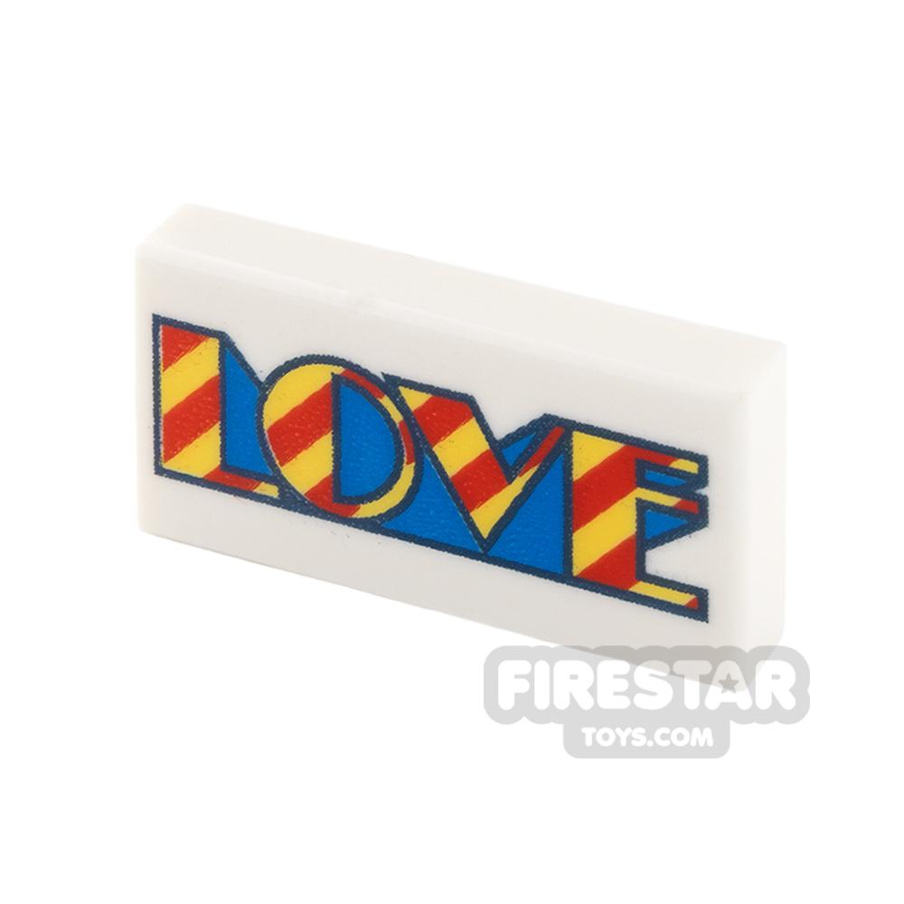 Printed Tile 1x2 - Love