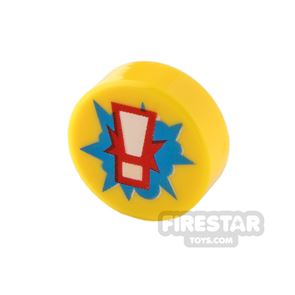 Printed Round Tile 1x1 - Exclamation Point
