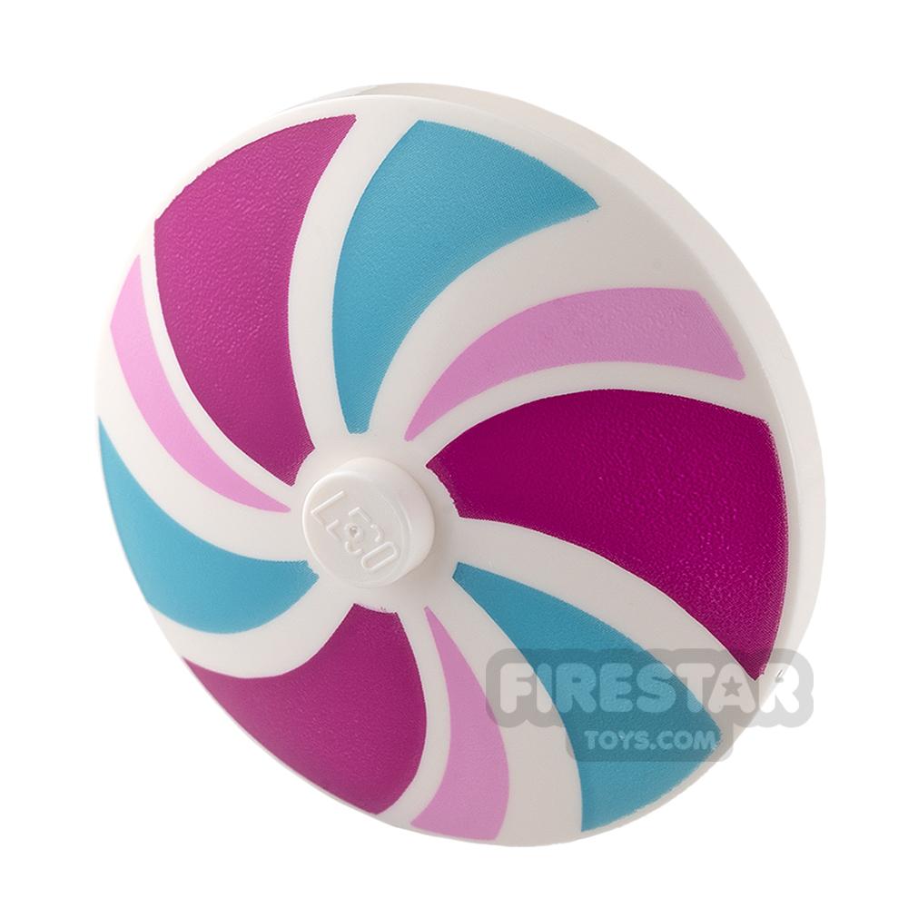 Printed Inverted Dish - Ø32X6.4 - Pink, Magenta and Medium Azure Stripes