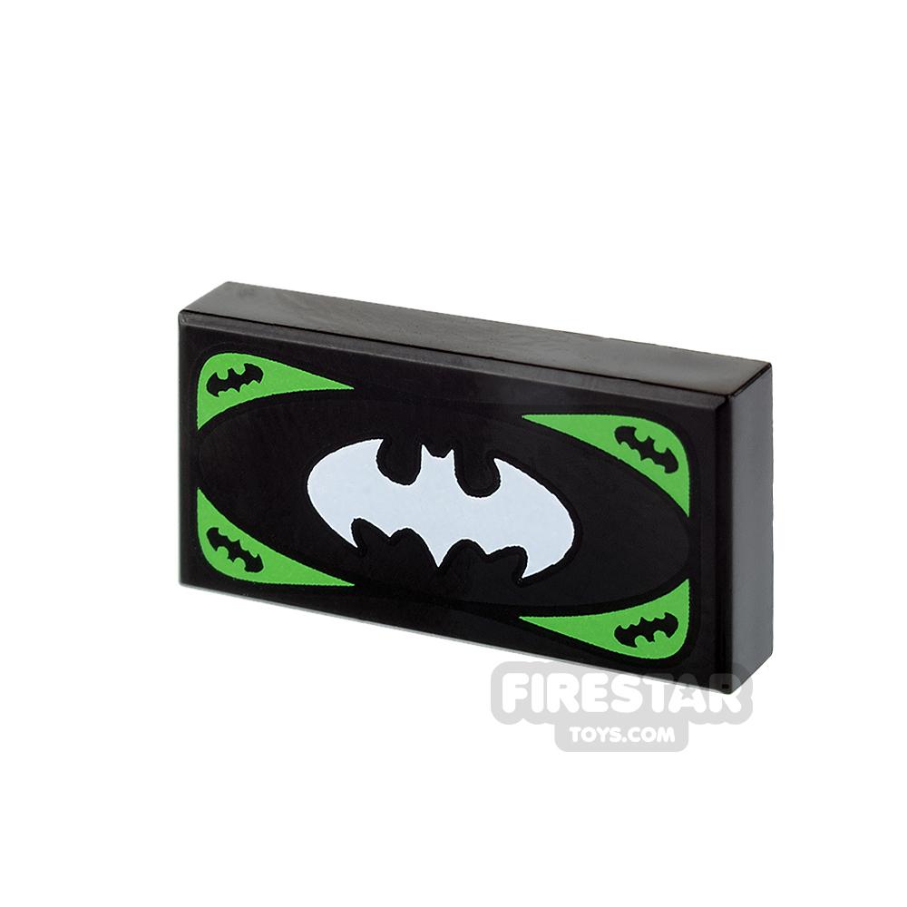 Printed Tile 1x2 - Bat-Bucks