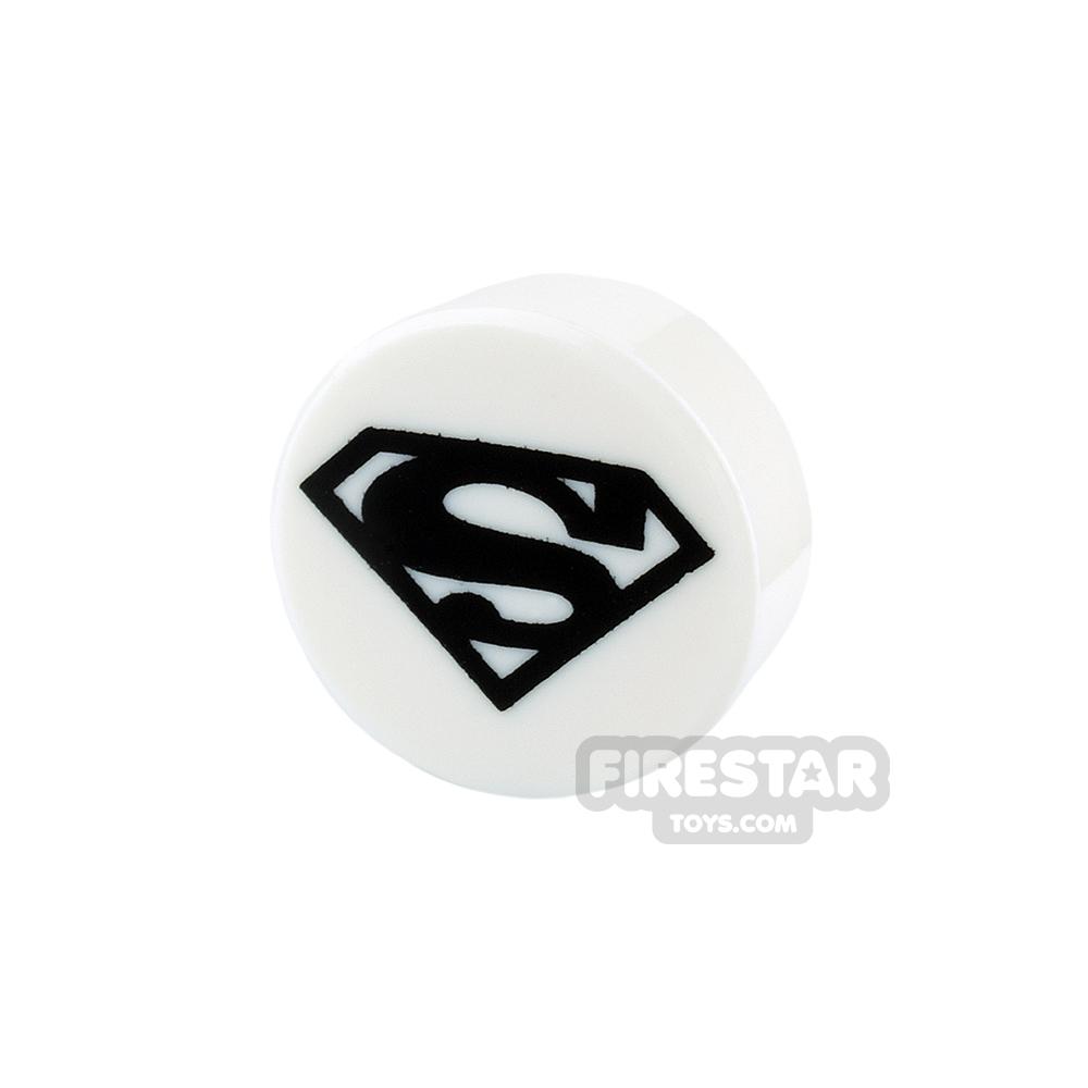 Printed Round Tile 1x1 - Superman Logo