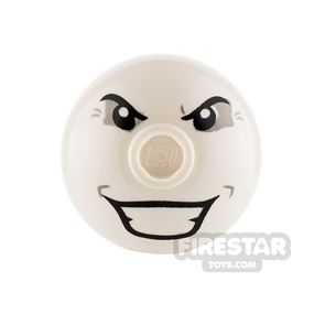Printed Round Brick 2x2 Dome Top - Angry Eyes and Grin