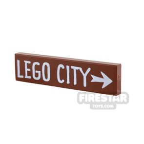 Printed Tile 1x4 - Sign - LEGO CITY