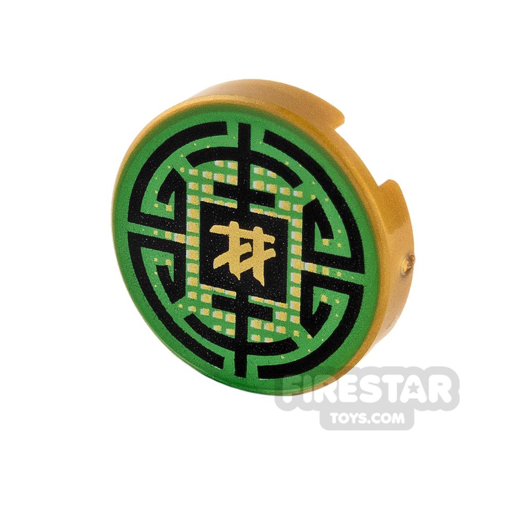 Printed Round Tile 2x2 - Green with Gold Ninja Symbol