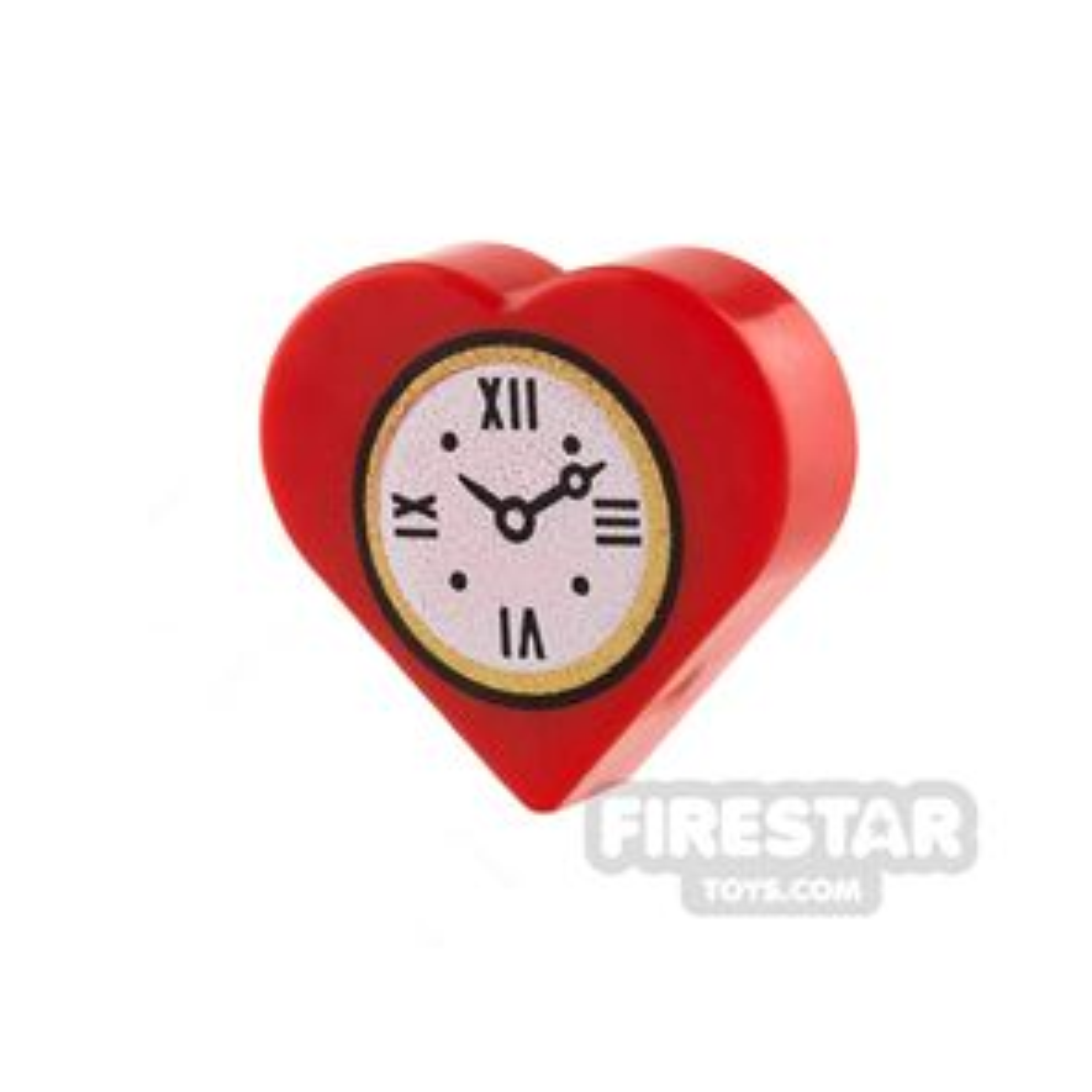 Round Quarter Tile 1 x 1 Heart Clock