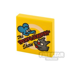 Printed Tile 2x2 The Itchy and Scratchy Show