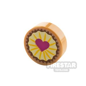 Printed Round Tile 1x1 Pastry with Heart