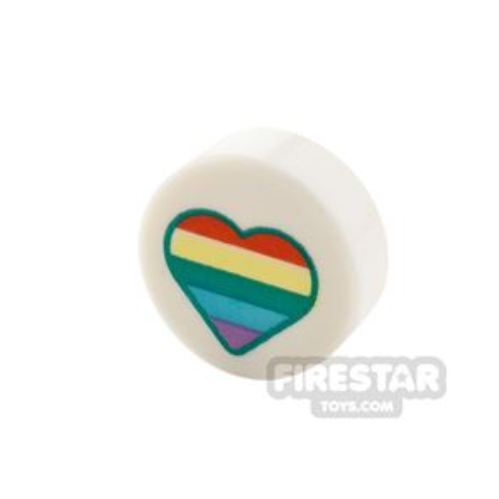 Printed Round Tile 1x1 Rainbow Heart