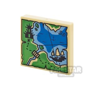 Printed Tile 2x2 Map with Ship