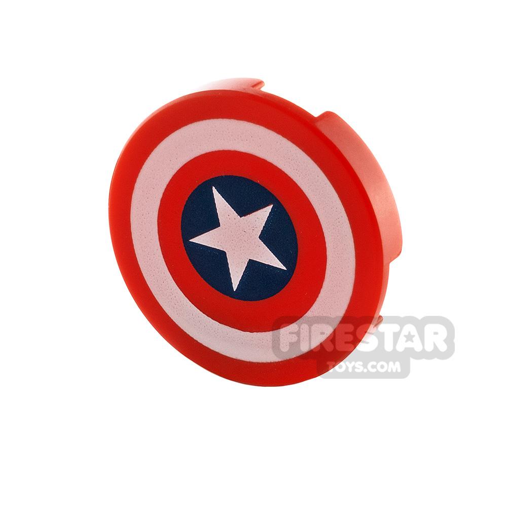 Printed Round Tile 2x2 Captain America Star