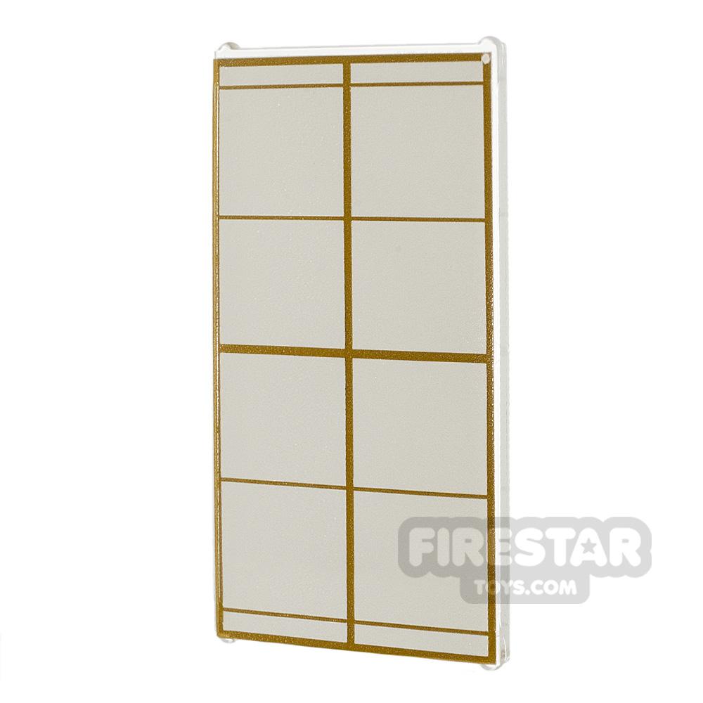 Printed Window Glass 1x4x6 Gold Lattice