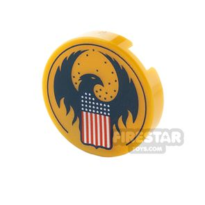Printed Round Tile 2x2 Eagle and American Flag
