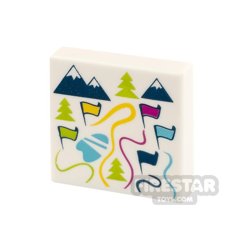 Printed Tile 2x2 Map of Ski Resort