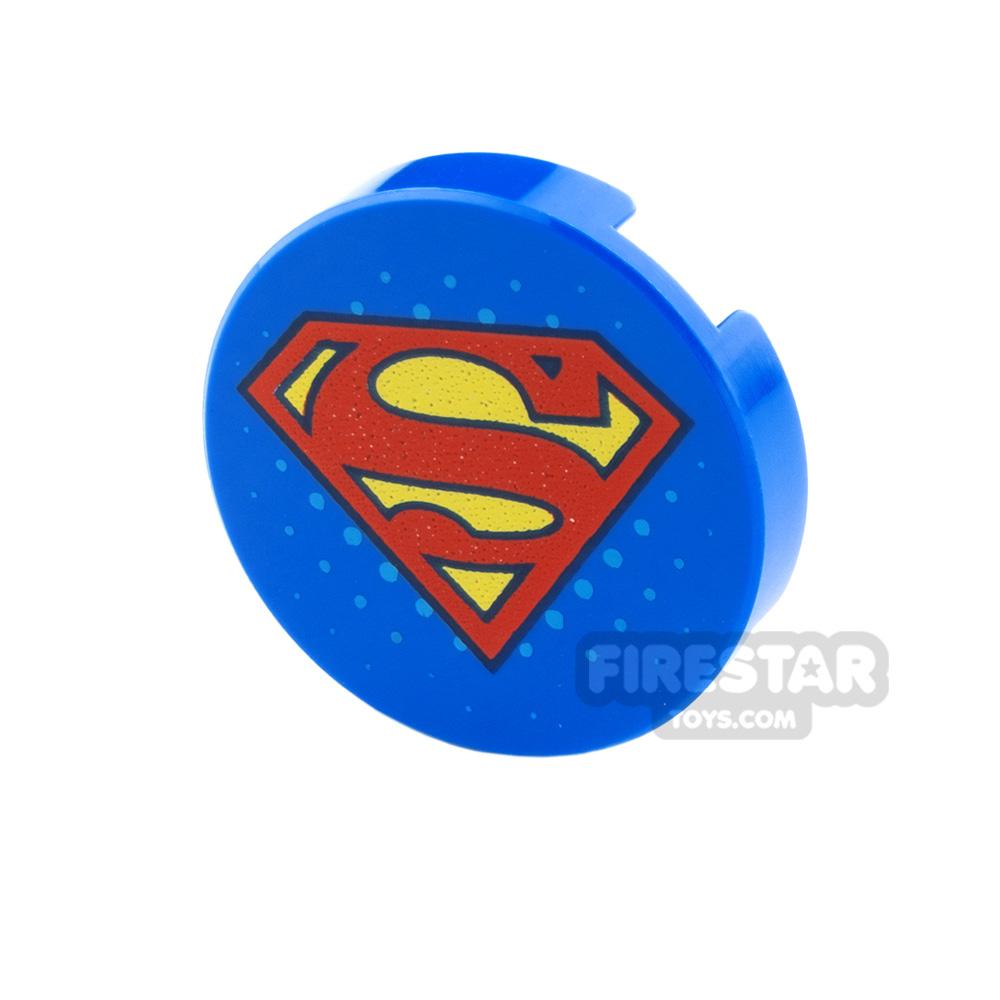Printed Round Tile 2x2 Superman Logo