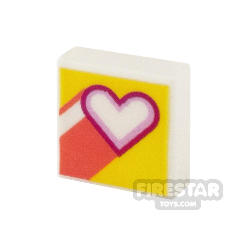 Printed Tile 1x1 Heart
