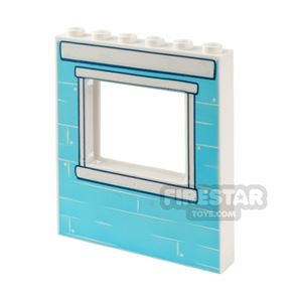 Printed Window Panel 1x6x6 Medium Blue Bricks
