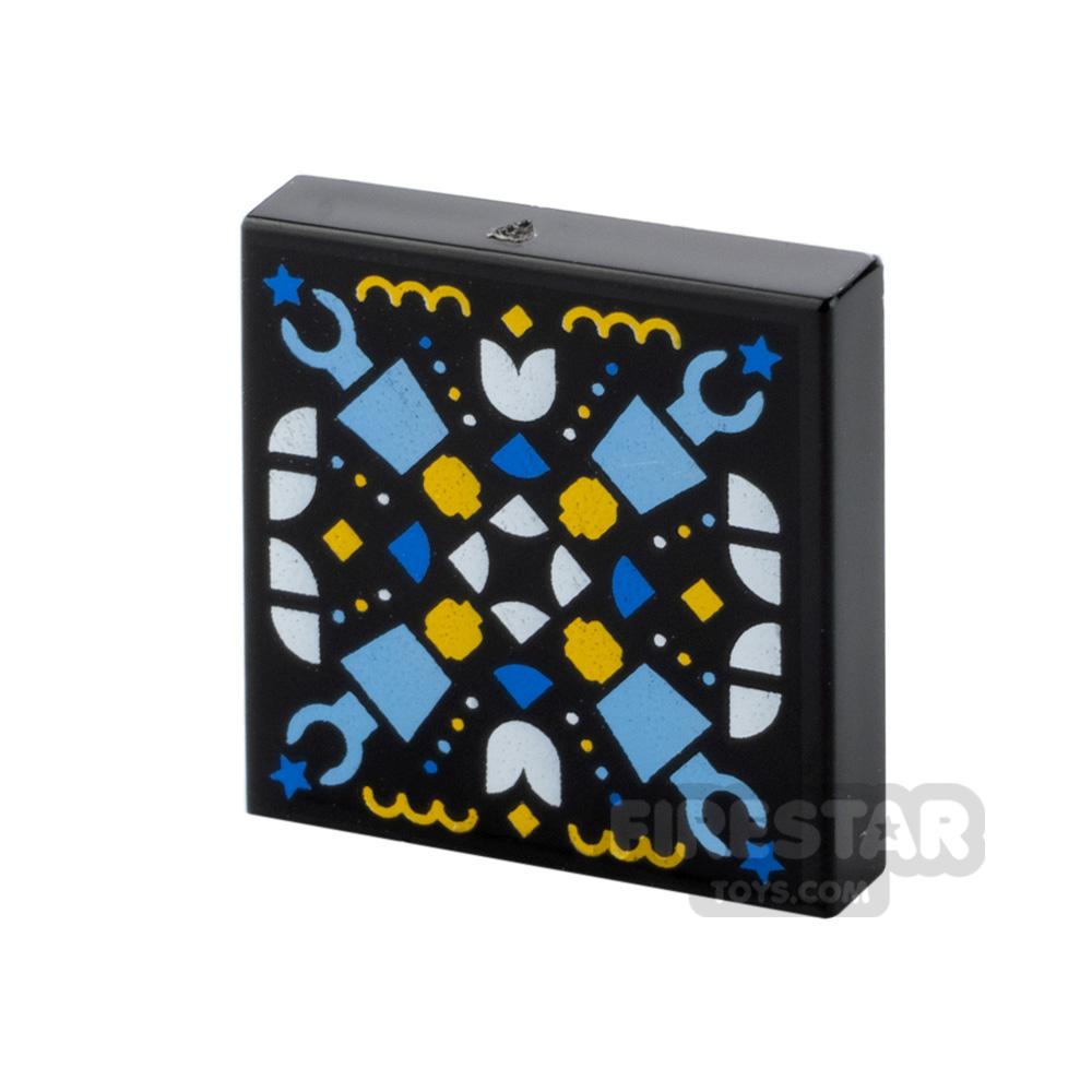 Printed Vidiyo Tile 2x2 Geometric Minifigure Heads