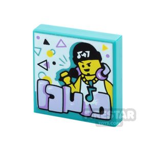 Printed Vidiyo Tile 2x2 Rapper with Music Note Necklace