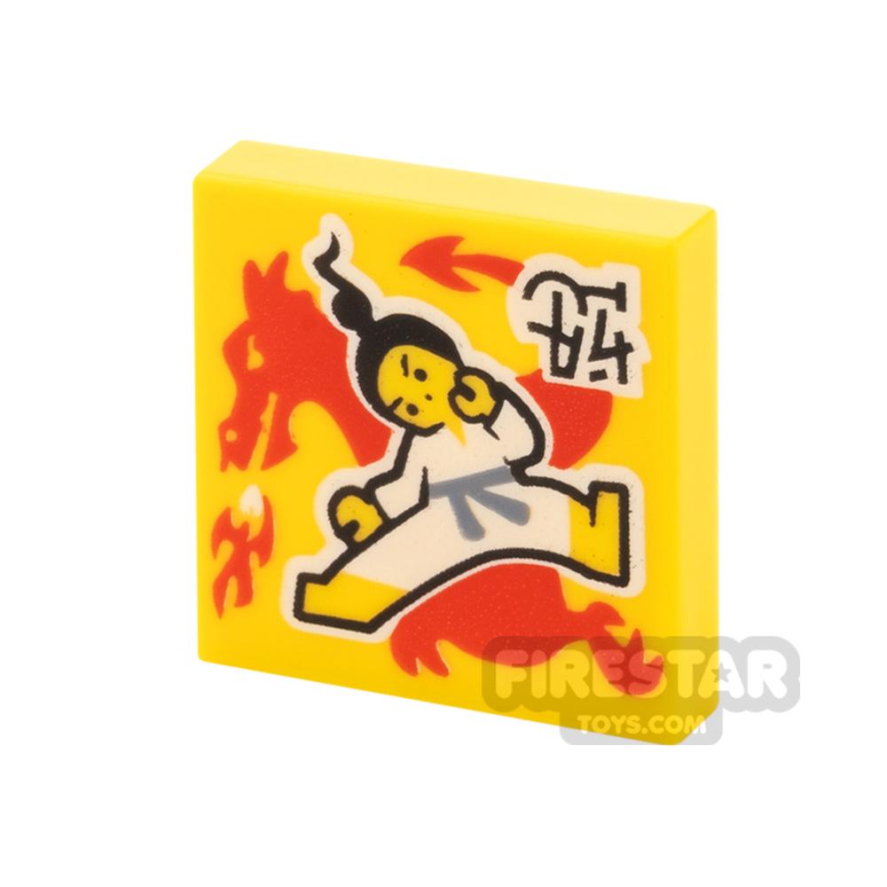 Printed Vidiyo Tile 2x2 Karate Kick and Dragon