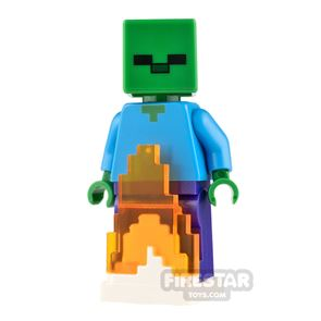 LEGO Minecraft Minifigure Zombie with Fire Base