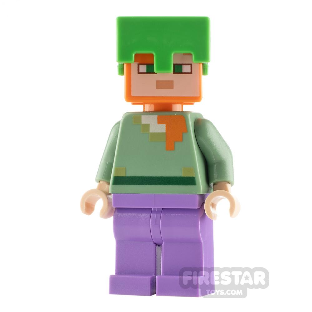 LEGO Minecraft Minifigure Alex Bright Green Helmet
