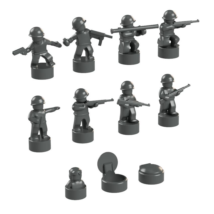 BrickMini Nano Soldiers - Dark Blueish Gray Set