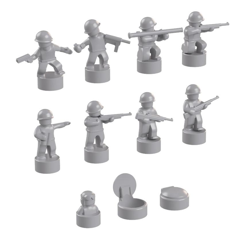 BrickMini Nano Soldiers - Light Blueish Gray Set