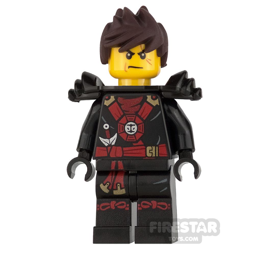 LEGO Ninjago Mini Figure - Kai - Black Shoulder pads and Tousled Hair