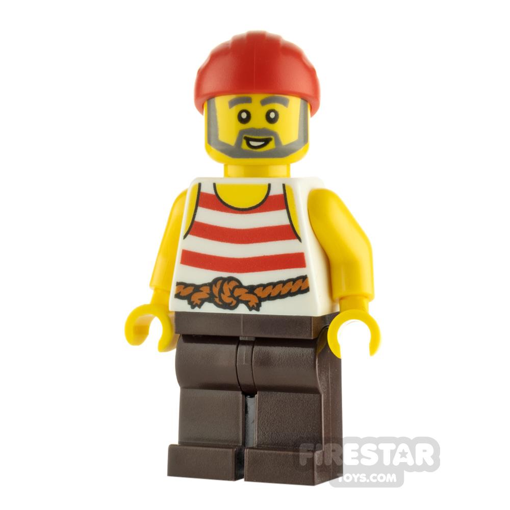 LEGO Pirate Minifigure Gray Beard and Striped Vest