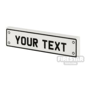 Personalised Car Licence Number Plate - White 1x4 Tile