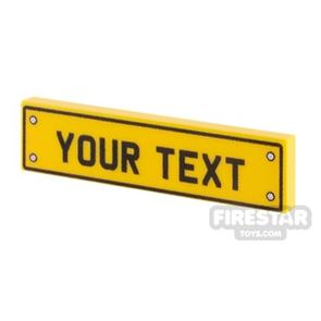 Personalised Car Licence Number Plate - Yellow 1x4 Tile
