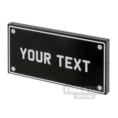 Personalised Car Licence Number Plate - Black 2x4 Tile