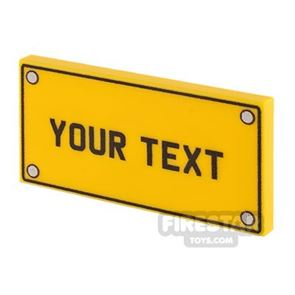 Personalised Car Licence Number Plate - Yellow 2x4 Tile