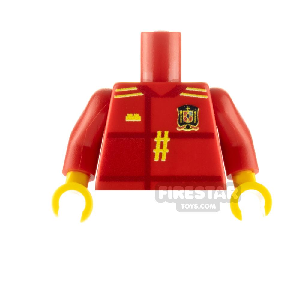 Custom Design Minifigure Torso Spain Football Jersey