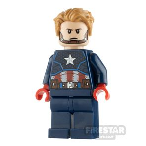 LEGO Super Heroes Minifigure Captain America Red Hands and Hair
