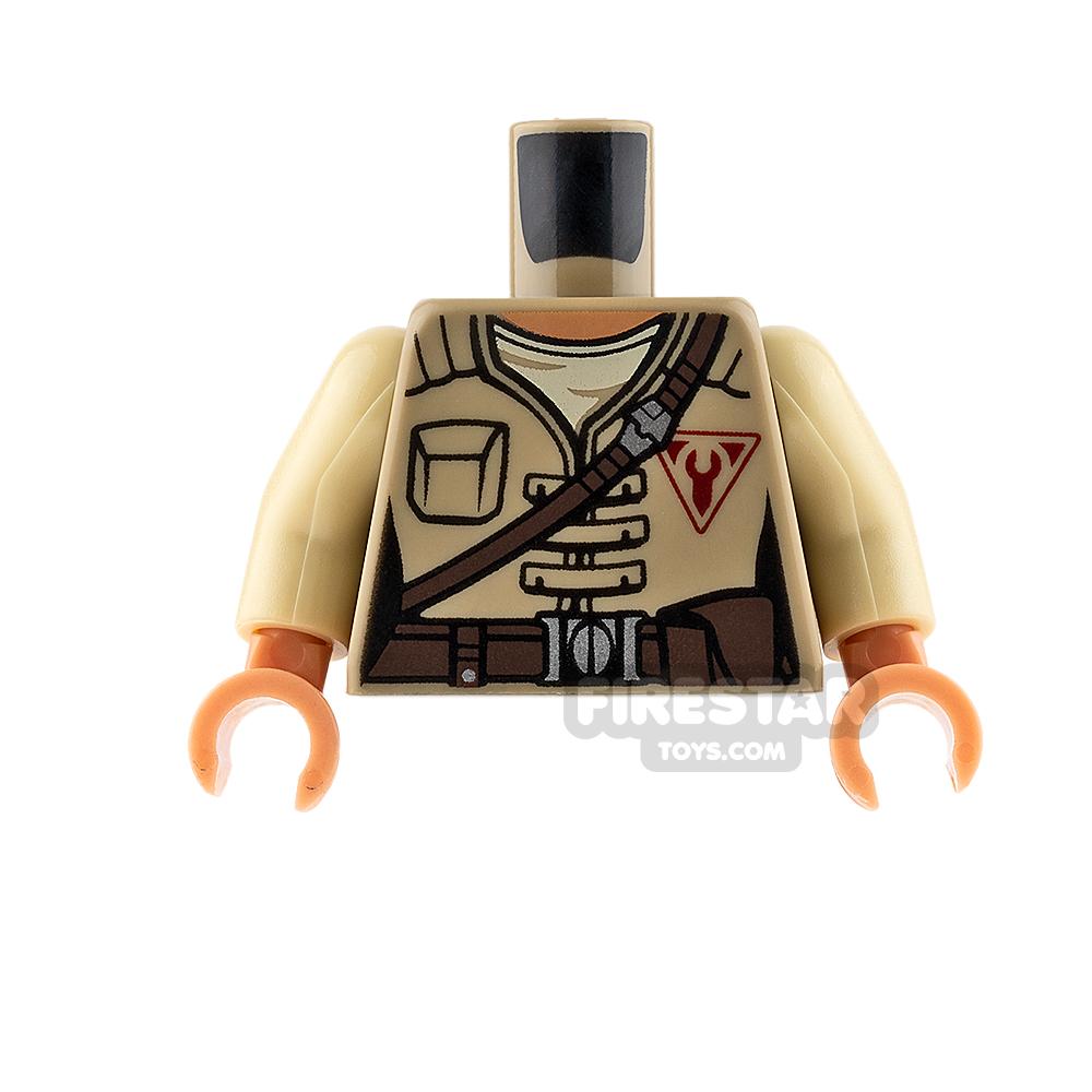 LEGO Mini Figure Torso - Dark Tan Jacket with Brown Belt Strap